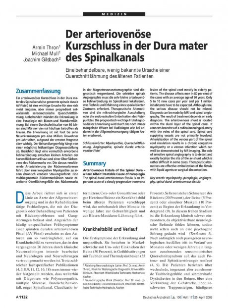 Der arteriovenöse Kurzschluss in der Dura mater des Spinalkanals: Eine behandelbare, wenig bekannte Ursache einer Querschnittlähmung des älteren Patienten