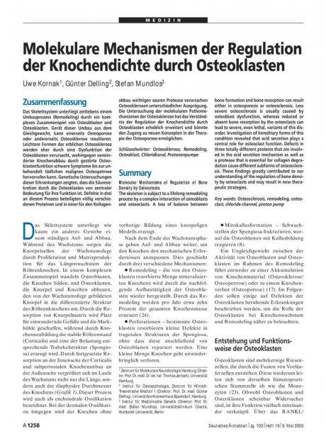 Molekulare Mechanismen der Regulation der Knochendichte durch Osteoklasten