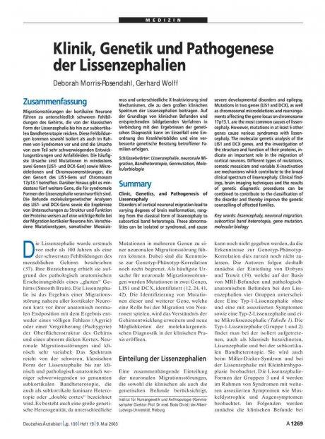 Klinik, Genetik und Pathogenese der Lissenzephalien