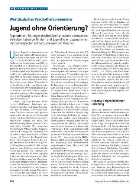 Westdeutsches Psychotherapieseminar: Jugend ohne Orientierung?