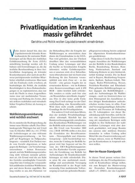 Privatbehandlung: Privatliquidation im Krankenhaus massiv gefährdet