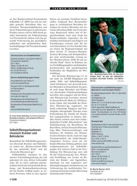 Arzt & Selbsthilfe: Selbsthilfeorganisationen chronisch Kranker und Behinderter