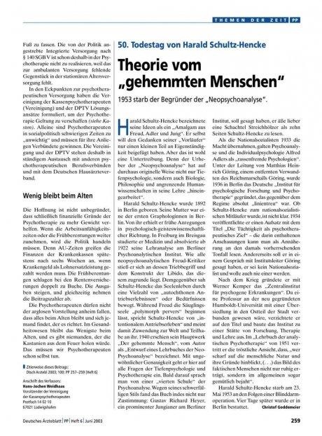"""50. Todestag von Harald Schultz-Hencke: Theorie vom """"gehemmten Menschen"""""""