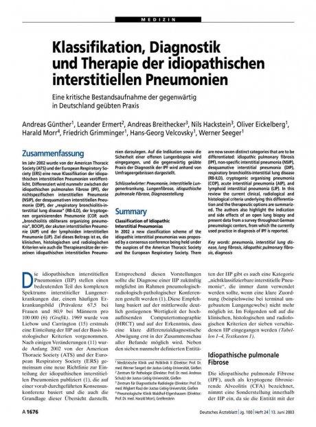Klassifikation, Diagnostik und Therapie der idiopathischen interstitiellen Pneumonien: Eine kritische Bestandsaufnahme der gegenwärtig in Deutschland geübten Praxis
