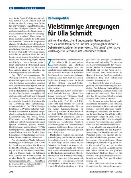 Reformpolitik: Vielstimmige Anregungen für Ulla Schmidt