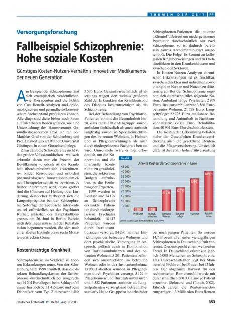 Versorgungsforschung: Fallbeispiel Schizophrenie – Hohe soziale Kosten