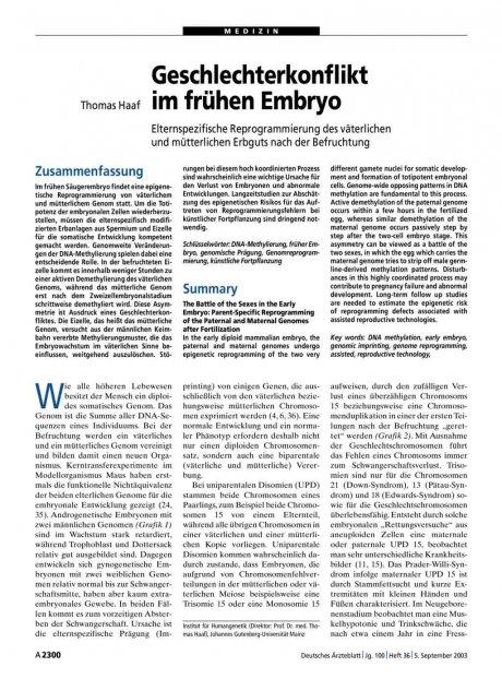 Geschlechterkonflikt im frühen Embryo: Elternspezifische Reprogrammierung des väterlichen und mütterlichen Erbguts nach der Befruchtung