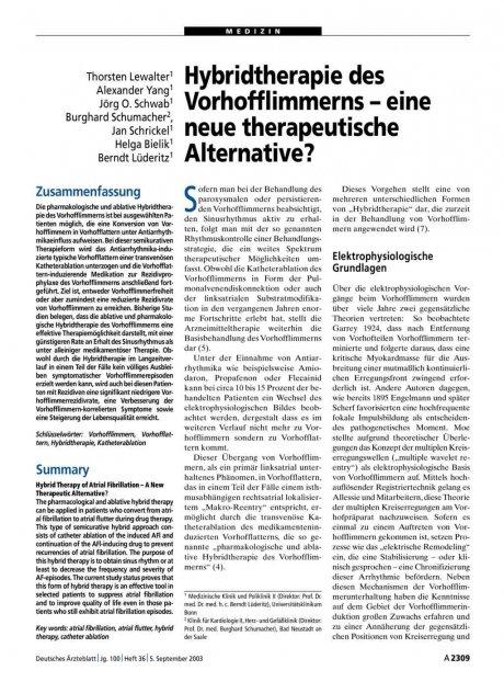 Hybridtherapie des Vorhofflimmerns – eine neue therapeutische Alternative?