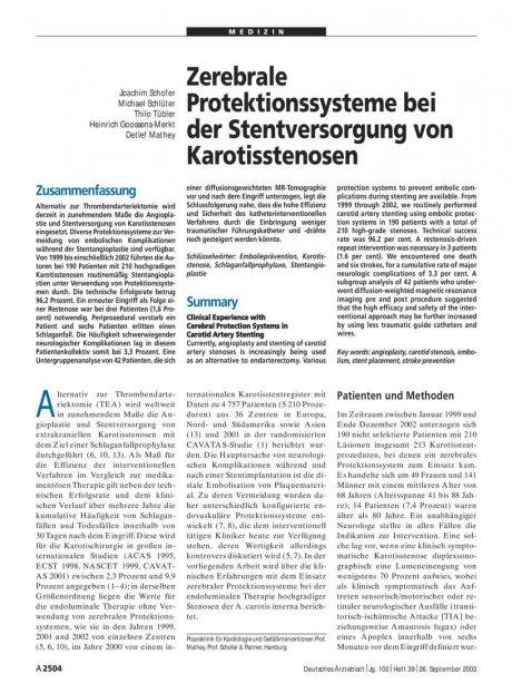 Zerebrale Protektionssysteme bei der Stentversorgung von Karotisstenosen
