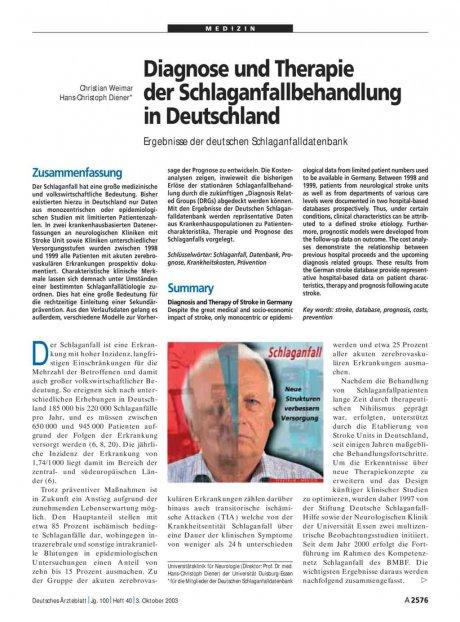 Diagnose und Therapie der Schlaganfallbehandlung in Deutschland: Ergebnisse der deutschen Schlaganfalldatenbank