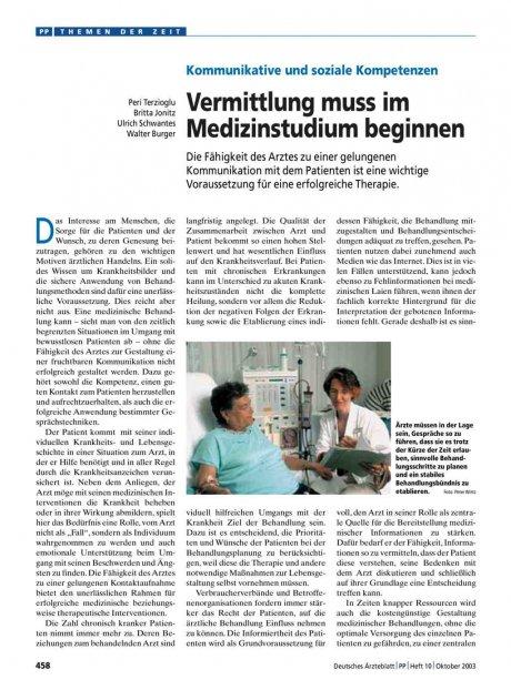 Kommunikative und soziale Kompetenzen: Vermittlung muss im Medizinstudium beginnen