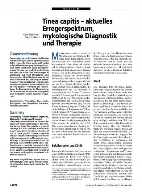 Tinea capitis – aktuelles Erregerspektrum, mykologische Diagnostik und Therapie