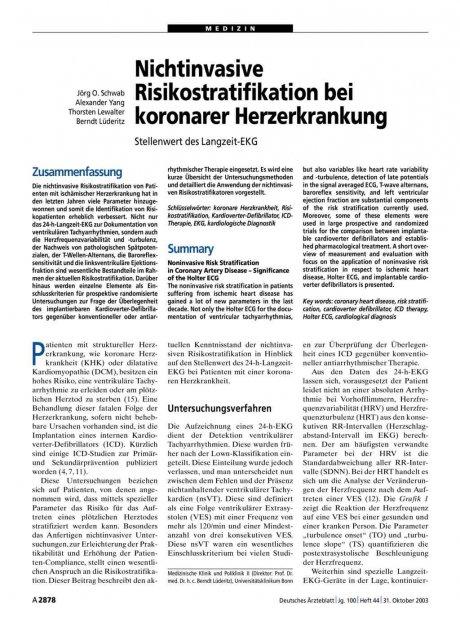 Nichtinvasive Risikostratifikation bei koronarer Herzerkrankung: Stellenwert des Langzeit-EKG