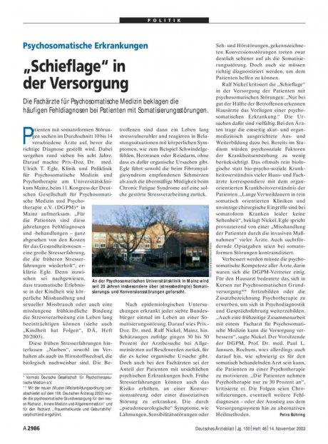 """Psychosomatische Erkrankungen: """"Schieflage"""" in der Versorgung"""