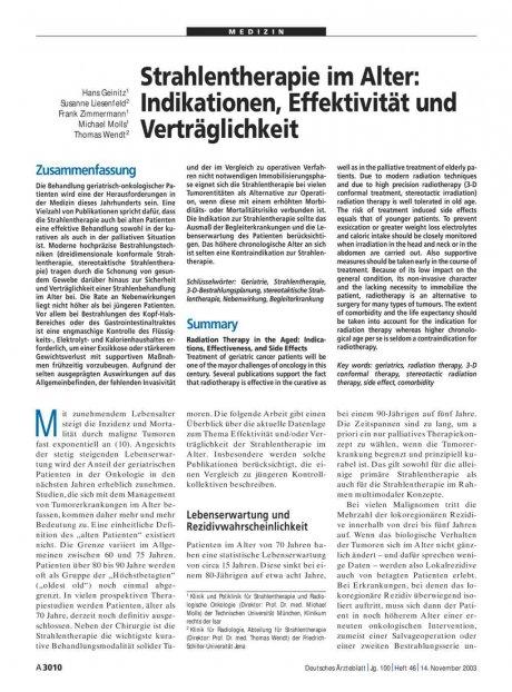 Strahlentherapie im Alter: Indikationen, Effektivität und Verträglichkeit