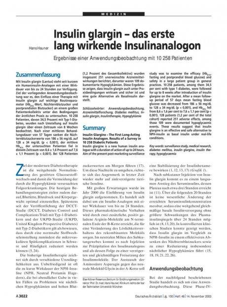 Insulin glargin – das erste lang wirkende Insulinanalogon: Ergebnisse einer Anwendungsbeobachtung mit 10 258 Patienten