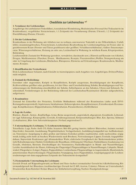 Checkliste zur Leichenschau