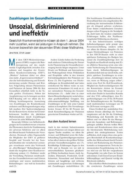 Zuzahlungen im Gesundheitswesen: Unsozial, diskriminierend und ineffektiv