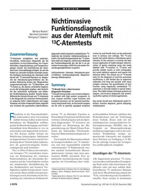 Nichtinvasive Funktionsdiagnostik aus der Atemluft mit 13C-Atemtests