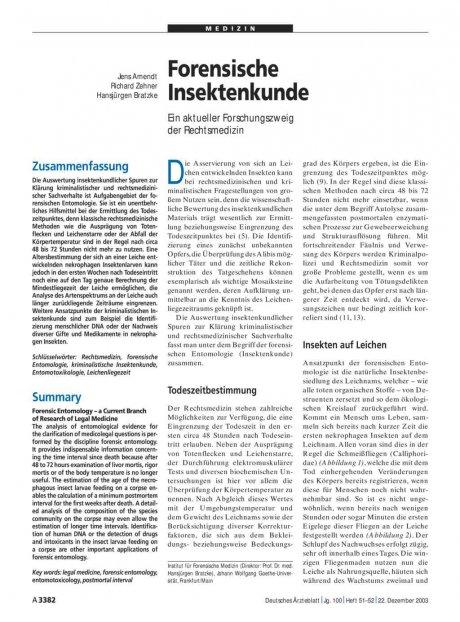 Forensische Insektenkunde: Ein aktueller Forschungszweig der Rechtsmedizin