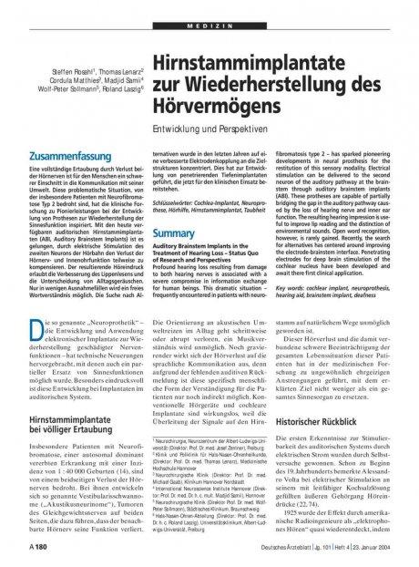Hirnstammimplantate zur Wiederherstellung des Hörvermögens: Entwicklung und Perspektiven