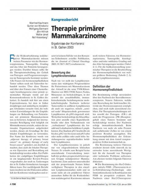 Therapie primärer Mammakarzinome: Ergebnisse der Konferenz in St. Gallen 2003