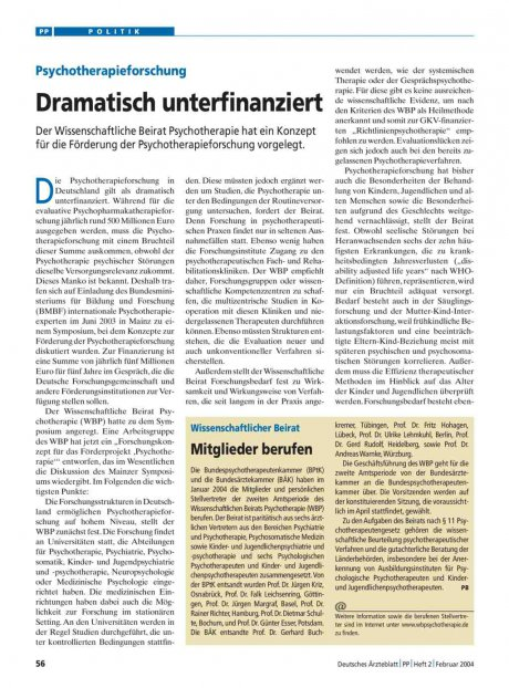 Psychotherapieforschung: Dramatisch unterfinanziert