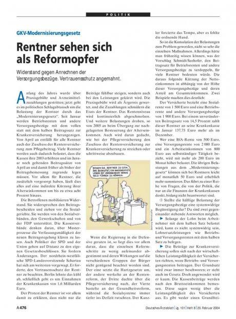 GKV-Modernisierungsgesetz: Rentner sehen sich als Reformopfer