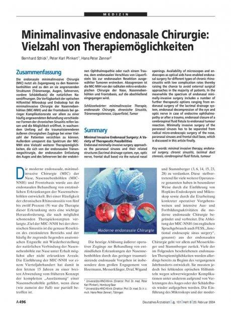 Minimalinvasive endonasale Chirurgie: Vielzahl von Therapiemöglichkeiten