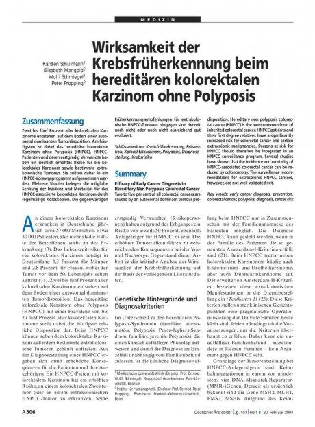 Wirksamkeit der Krebsfrüherkennung beim hereditären kolorektalen Karzinom ohne Polyposis