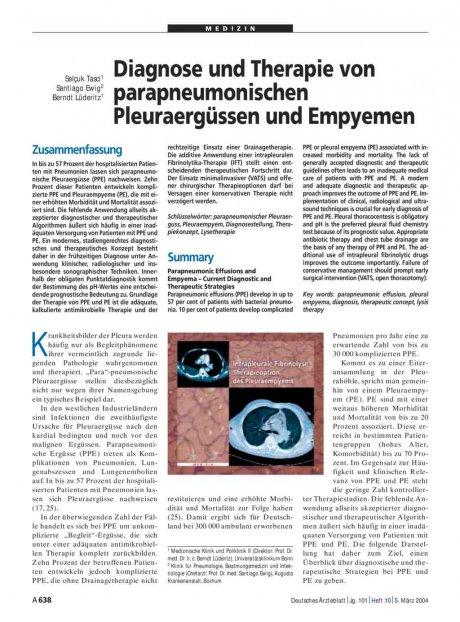 Diagnose und Therapie von parapneumonischen Pleuraergüssen und Empyemen