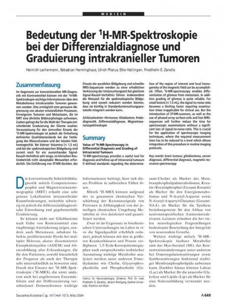 Bedeutung der 1H-MR-Spektroskopie bei der Differenzialdiagnose und Graduierung intrakranieller Tumoren