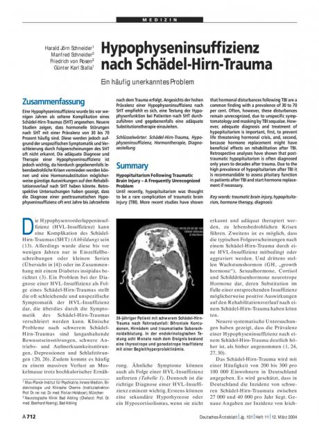 Hypophyseninsuffizienz nach Schädel-Hirn-Trauma: Ein häufig unerkanntes Problem