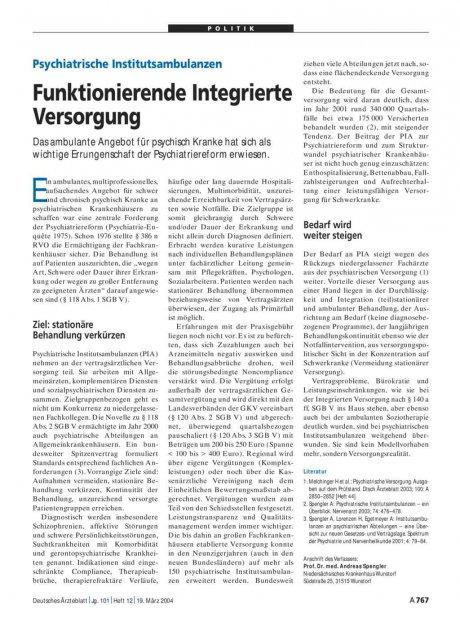 Psychiatrische Institutsambulanzen: Funktionierende Integrierte Versorgung