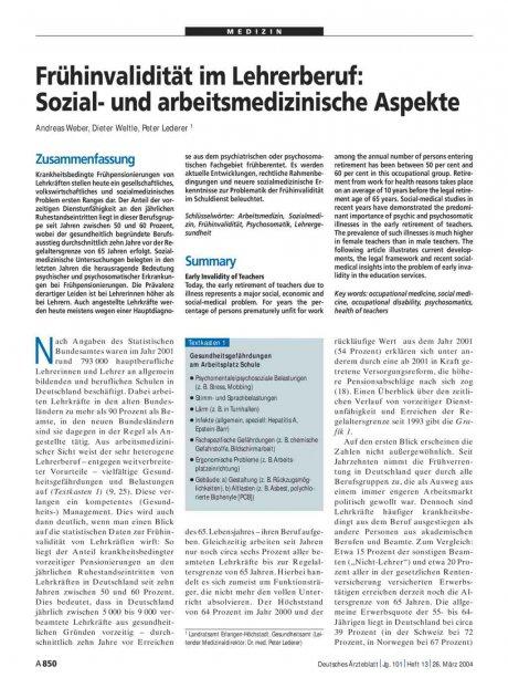 Frühinvalidität im Lehrerberuf: Sozial- und arbeitsmedizinische Aspekte