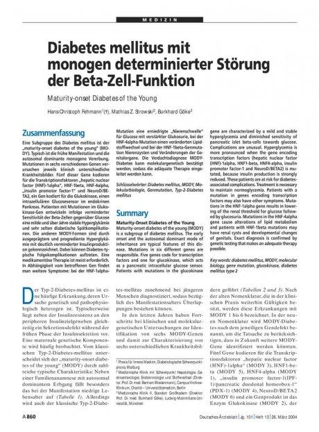 Diabetes mellitus mit monogen determinierter Störung der Beta-Zell-Funktion: Maturity-onset Diabetes of the Young