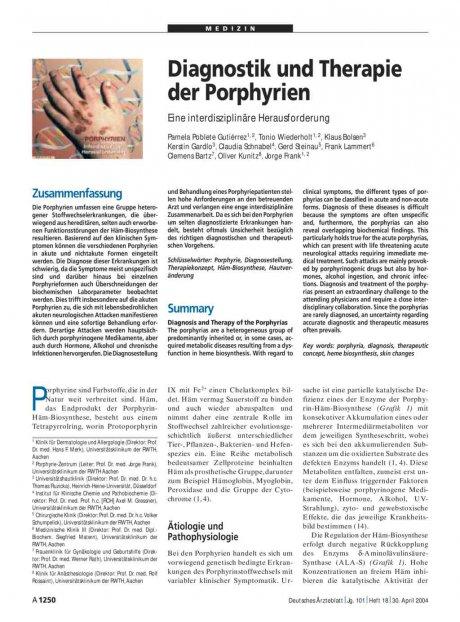 Diagnostik und Therapie der Porphyrien: Eine interdisziplinäre Herausforderung