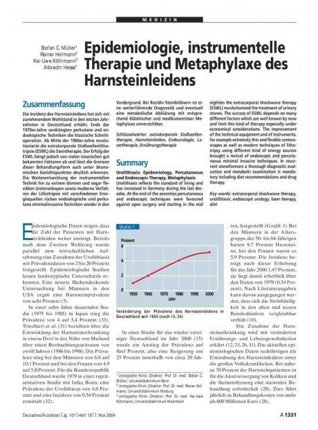 Epidemiologie, instrumentelle Therapie und Metaphylaxe des Harnsteinleidens
