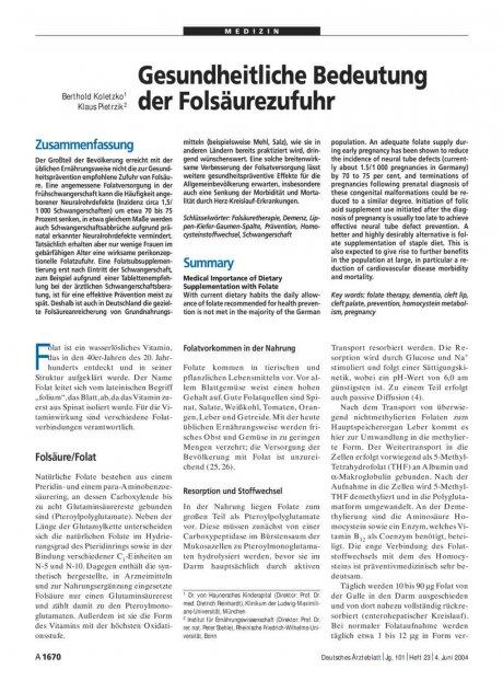 Gesundheitliche Bedeutung der Folsäurezufuhr