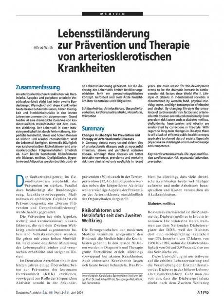 Lebensstiländerung zur Prävention und Therapie von arteriosklerotischen Krankheiten