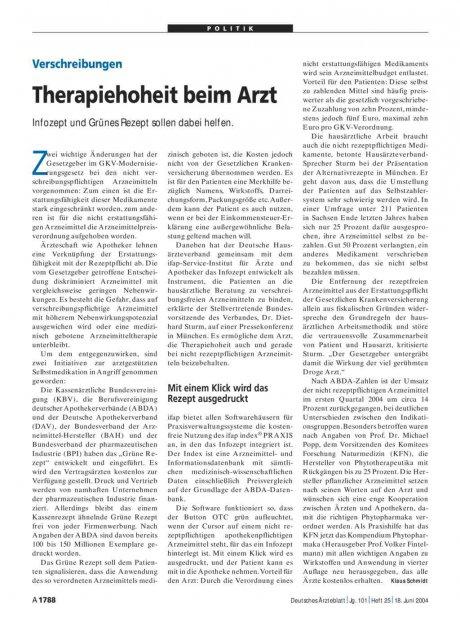 Verschreibungen: Therapiehoheit beim Arzt