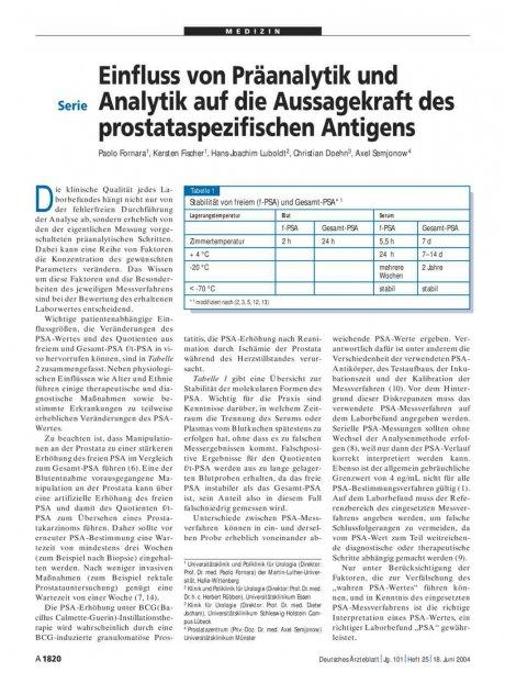 Einfluss von Präanalytik und Analytik auf die Aussagekraft des prostataspezifischen Antigens