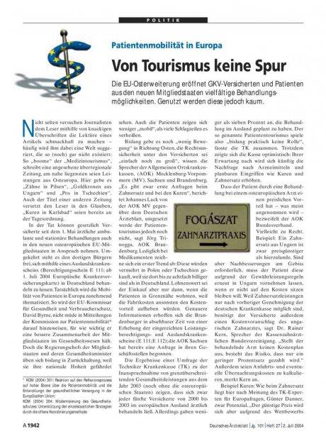Patientenmobilität in Europa: Von Tourismus keine Spur