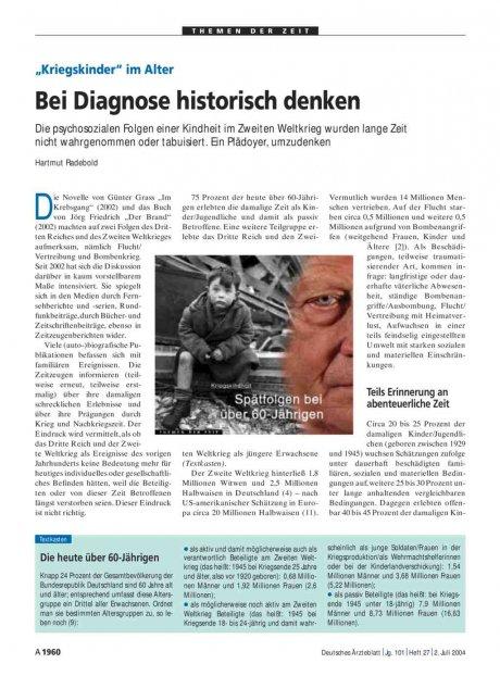 """""""Kriegskinder"""" im Alter: Bei Diagnose historisch denken"""