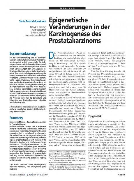 Epigenetische Veränderungen in der Karzinogenese des Prostatakarzinoms