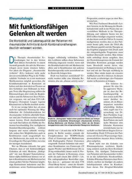 Rheumatologie: Mit funktionsfähigen Gelenken alt werden