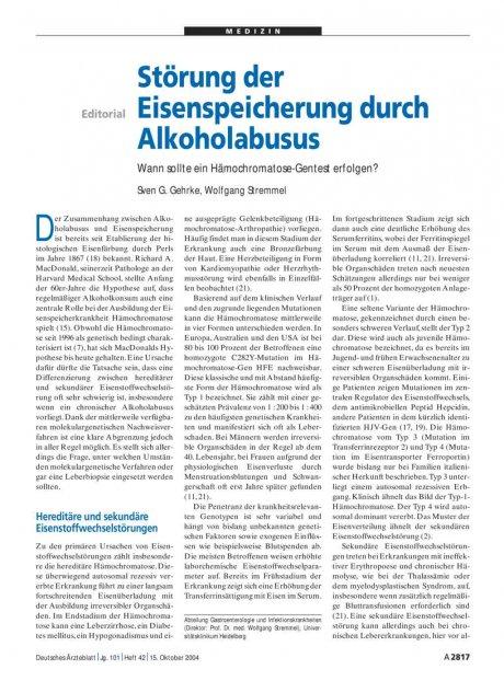 Störung der Eisenspeicherung durch Alkoholabusus: Wann sollte ein Hämochromatose-Gentest erfolgen?