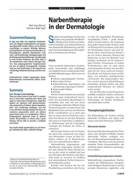 Narbentherapie in der Dermatologie