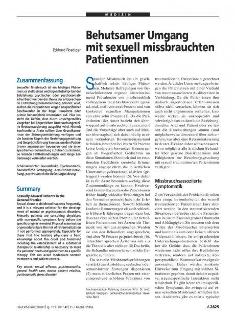 Behutsamer Umgang mit sexuell missbrauchten Patientinnen