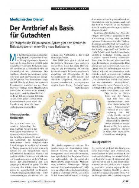 Medizinischer Dienst: Der Arztbrief als Basis für Gutachten